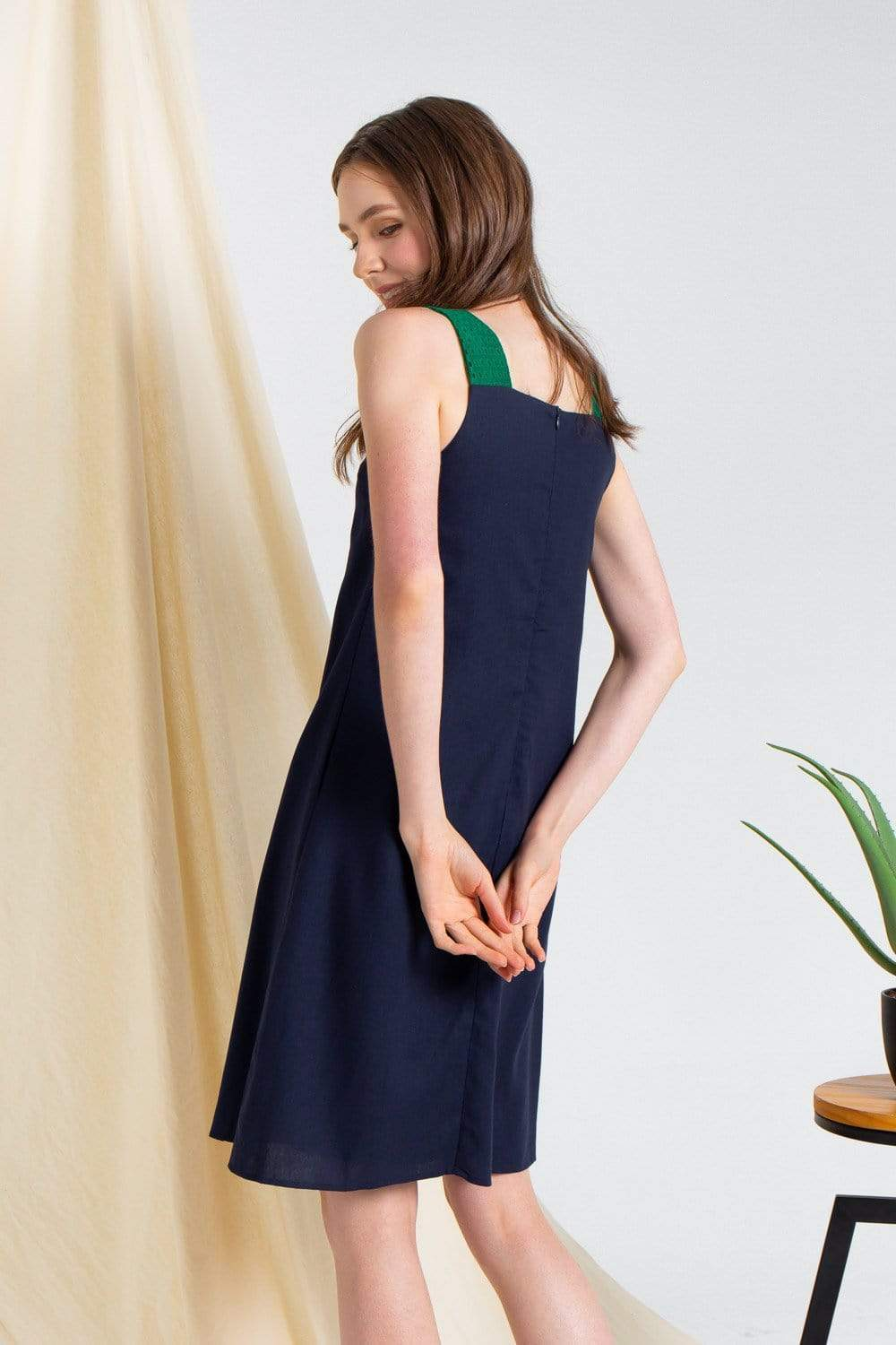 CORALYN NAVY EYELET-STRAP SHIFT DRESS