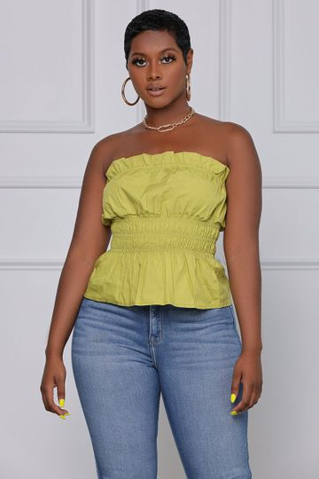 Play the Game Ruched Strapless Top (Olive)