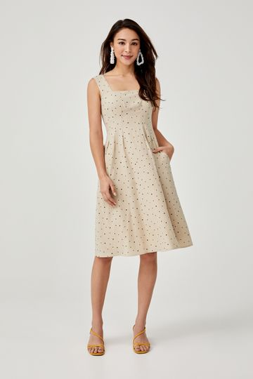 Aalinah Printed A-line Midi Dress