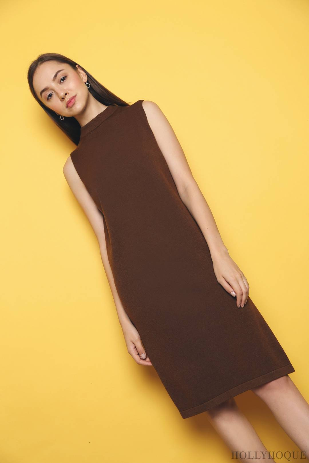 Reynold Slit Knit Dress Brown