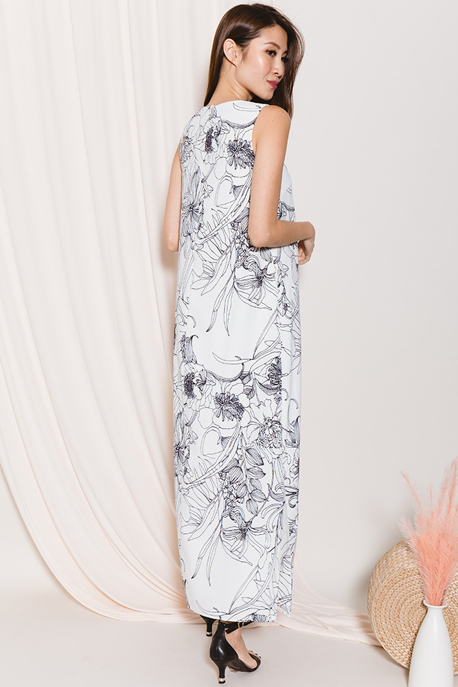 Verity Floral Abstract Maxi Dress (White)