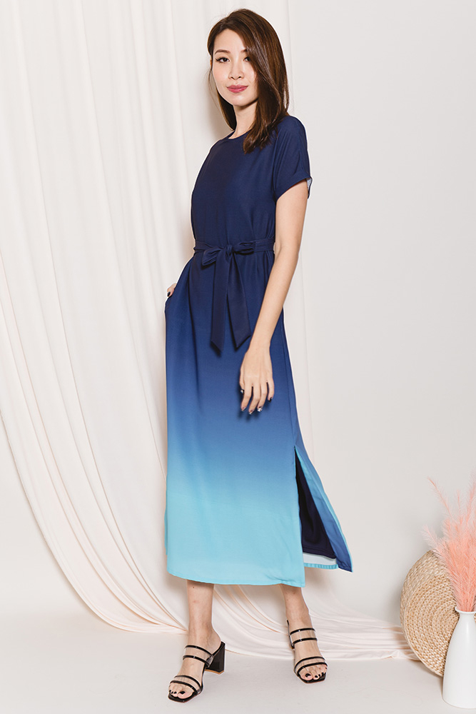 Orena Ombre Maxi Dress (Midnight Turquoise)