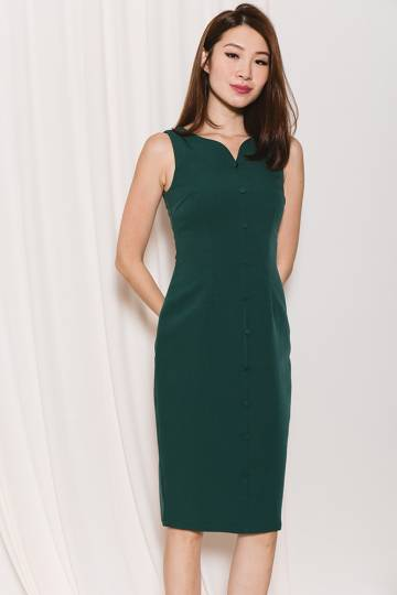 Bourbon Braganza Sheath Dress (Emerald)