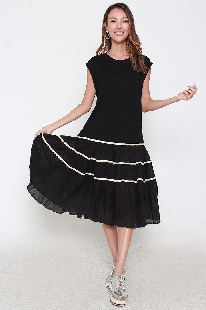 Gabrielle Tier Dress in Black