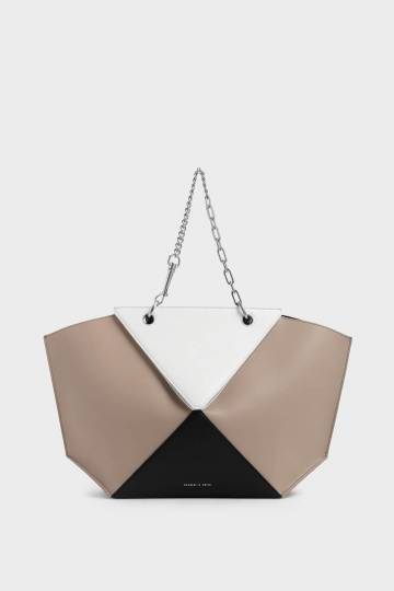 Two-Tone Thin Chain Handle Sculptural Tote