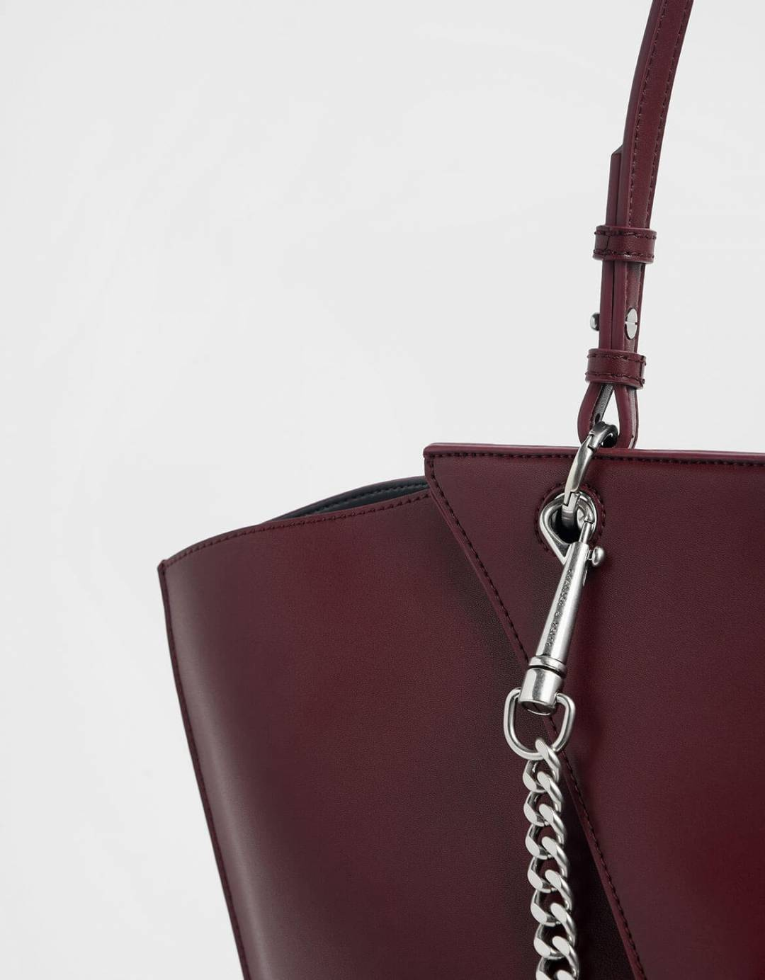 Thin Chain Handle Sculptural Tote