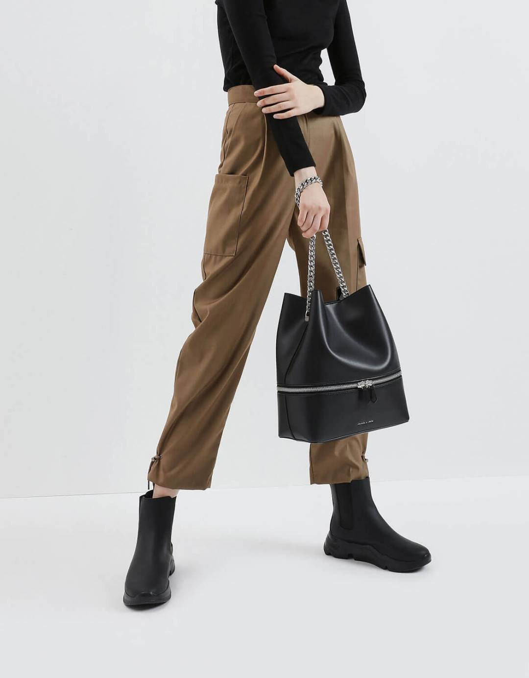Two-Way Zip Hobo Bag