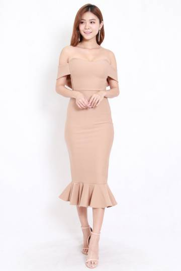 *Premium* Mermaid Off Shoulder Midi Dress (Skin-Nude)