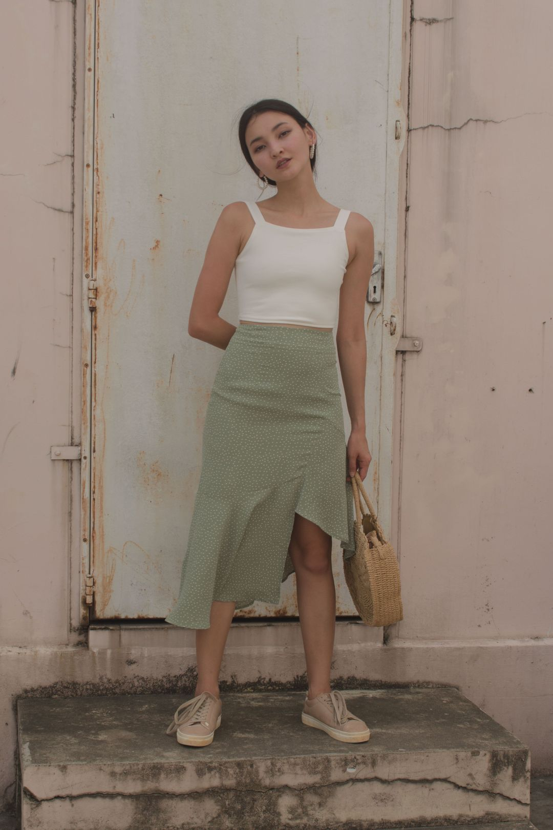 Highs And Lows Skirt in Light Fern