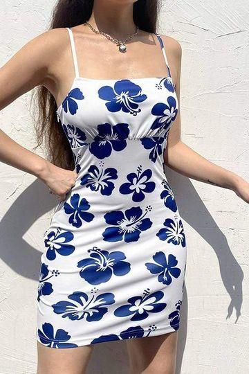Blue Hibiscus Flower Print Bodycon Dress