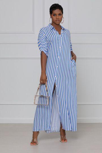 Keepin' Classic Striped Shirt Dress (Blue & White)