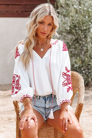 Spanish Steps Embroidered Peasant Blouse