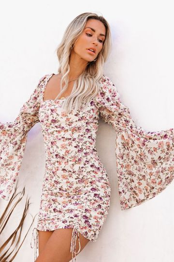 Graylynn Ruched Floral Bell Sleeve Dress