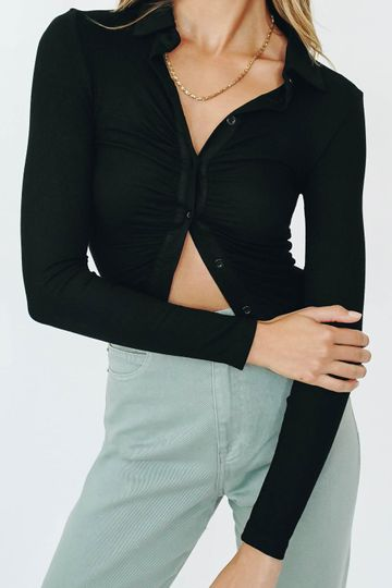 French Mood Button Front Top // Black