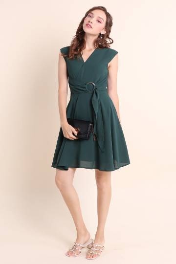 CANDICE RING SASH WORK DRESS IN FOREST GREEN [XS/S/M/L/XL]