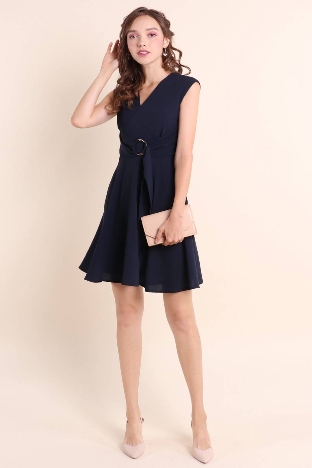 CANDICE RING SASH WORK DRESS IN NAVY [XS/S/M/L/XL]
