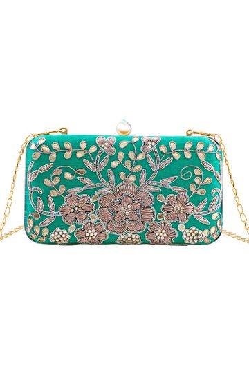 Green Floral Embroidered Clutch Bag