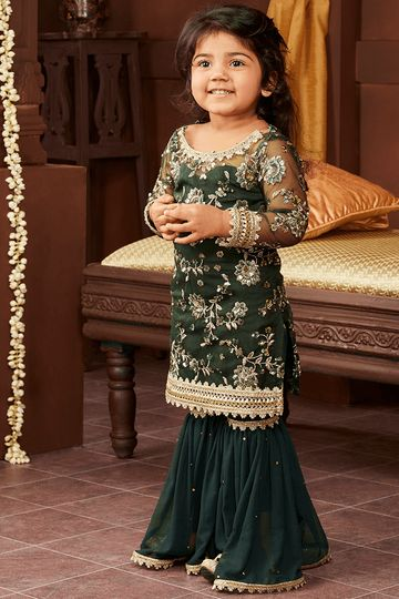 Kids Emerald Green and Gold Gharara Suit
