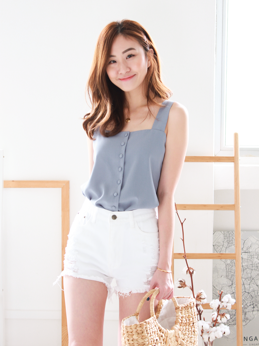 janelle Square-Neck Top in Ash Blue