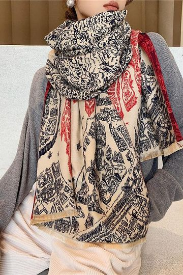 Women Spring Warm Thick Retro Mural Scarf
