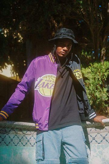 Los Angeles Lakers Half Court Jacket - Black/Purple