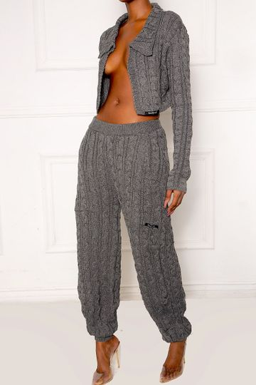 Gray Boom Cable Knit Trousers