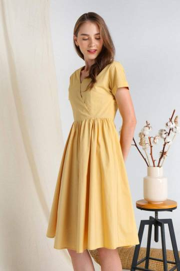 RIXIE YELLOW COTTON SLEEVED DRESS