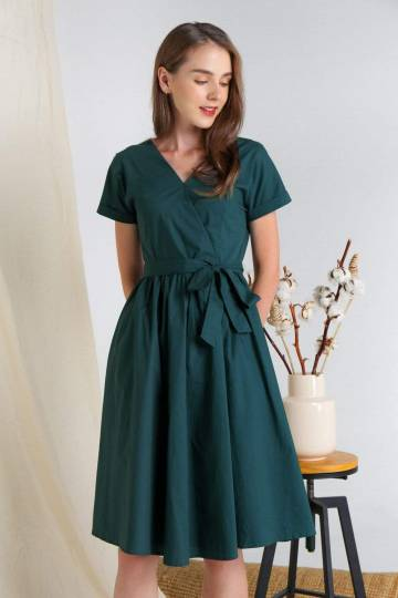 RIXIE FOREST COTTON SLEEVED DRESS