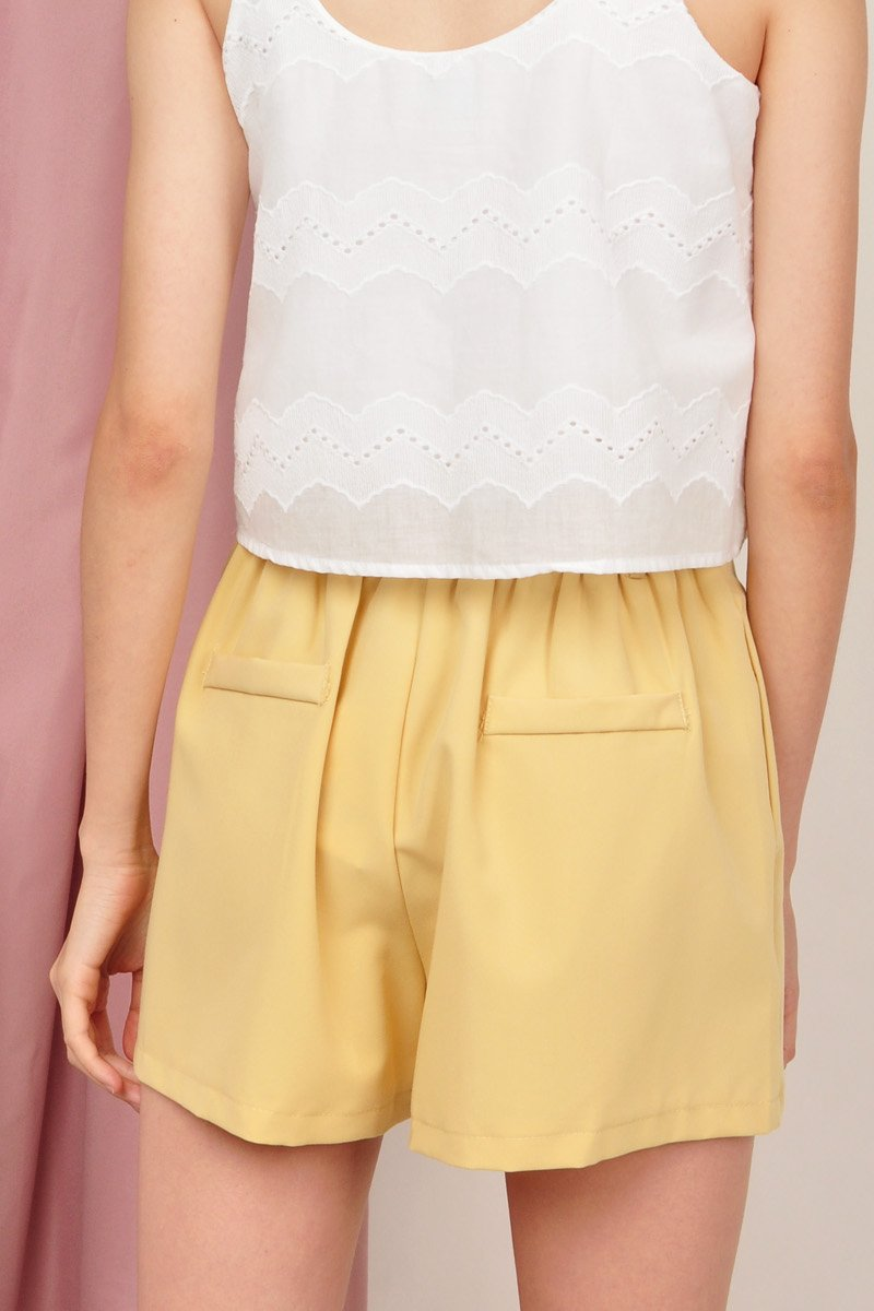 Halston Classic Pleated Shorts Honey