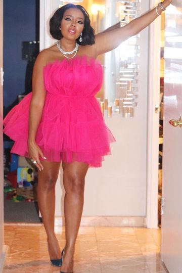 Strapless Flirty Hot Pink Tutu Tulle Dress Similar Style Worn by Angela Simmons (Custom Colors Available)
