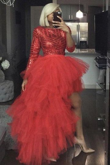 Oyemwen Tiered High Low Tulle Maxi Tutu Skirt Sequin Top Set (Red)