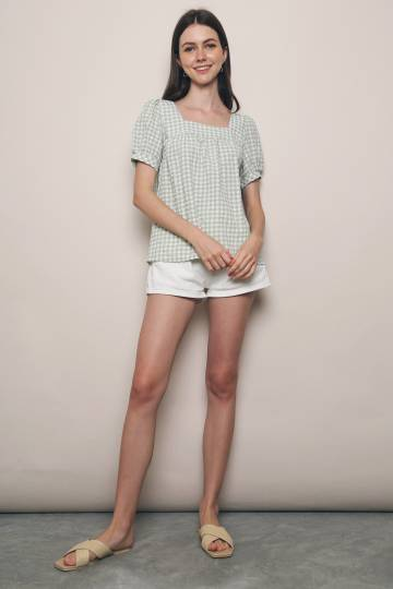 Daisy Checkered Puffed Sleeves Blouse Sage