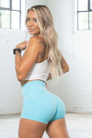 Luxe Sky Blue Pocket Shorts