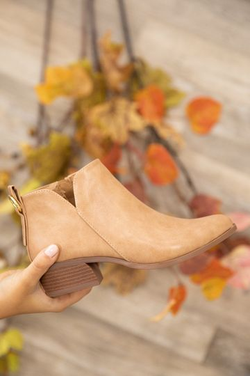 Toffee Heel Booties With Zippered Side