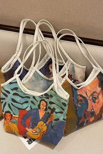 ART HOE OIL DRAWING PAINT CANVAS TOTE BAG