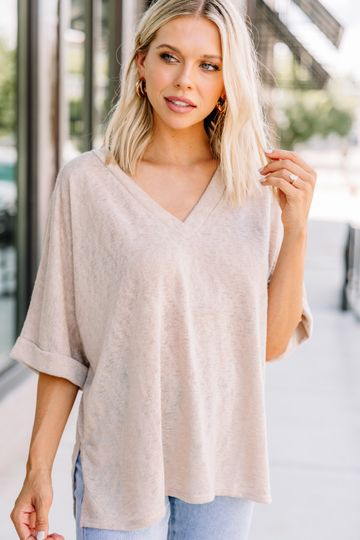 Thinking Ahead Taupe Brown Dolman Top