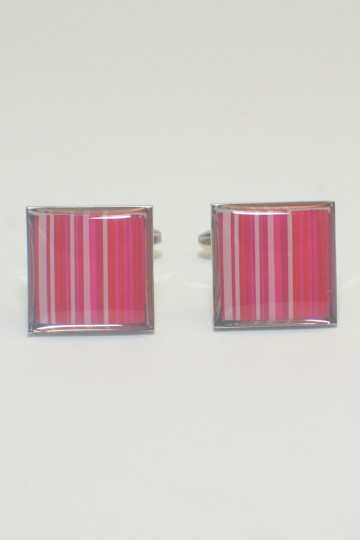 Pink Stripes Square Cufflinks