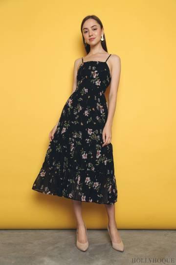 Belle Fleur Waisted Midi Dress Black