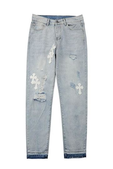 Chrome Hearts White Cross Washed Jeans