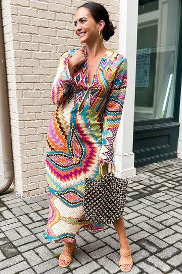 Izmir Chevron Print Long Sleeve Tie Front Dress