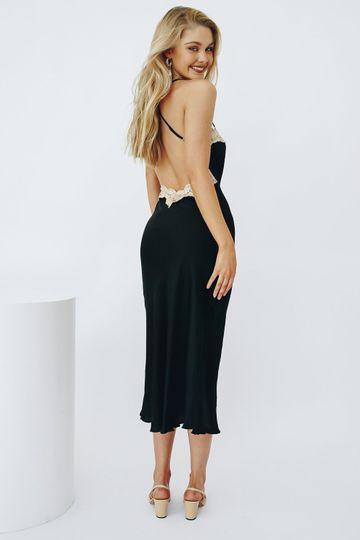 VRG GRL Learn French Slip Midi Dress // Black