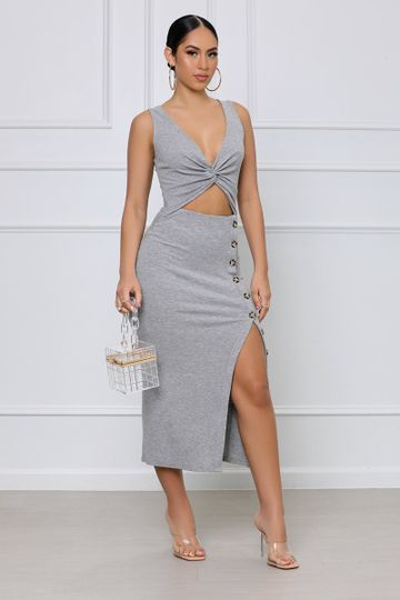 Twisted Over You Ribbed Midi Dress (Grey)