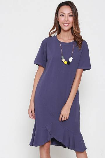 Elein Asymmetrical Dress in Purple Blue