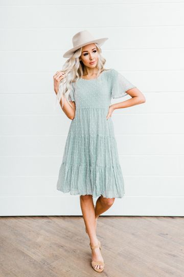 Hannah Dress in Green Lily
