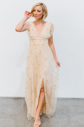 Nova Shimmer Maxi Dress   Gold