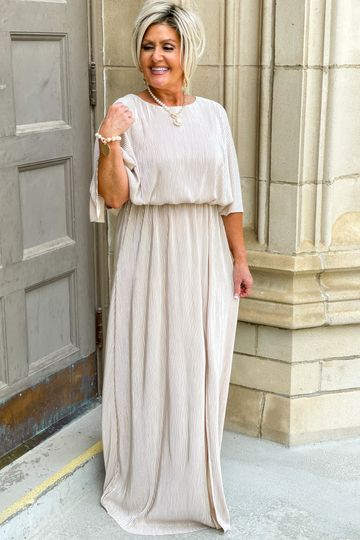 Pre-Order: Cape Style Metallic Stripe Pleats Maxi Dress - Available S-3X - Summer Collection
