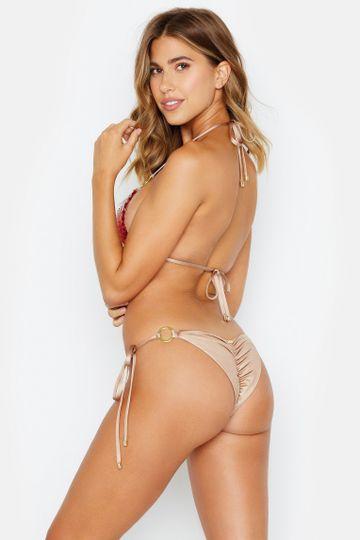 Siren Song Tie Side Bottom - Red/Gold