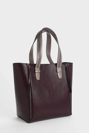 Two-Tone Double Zip Long Handle Tote Bag