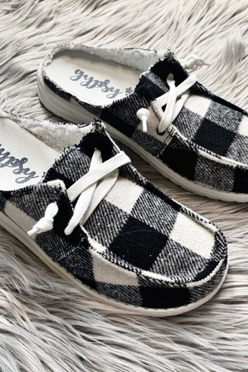 New! Gypsy Jazz Brooklyn Black and White Plaid Slip-on Shoes
