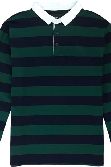 Green And Navy Blue Striped Mens Long Sleeve Rugby Shirt